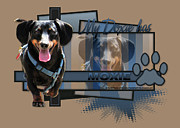 Animal Paw Print Digital Art Posters - My Doxie Has Moxie - Dachshund Poster by Renae Frankz