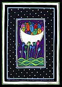 Gouaches Prints - My Dreams Come in Floating Moonfulls Print by Angela Treat Lyon