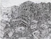 Buildings Drawings - My Fantasy City II by Callie Fink