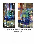Tower Glass Art - My Fathers House- Glass Cube by Guadalupe Glass-peter Vanderlaan