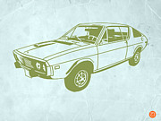 Old Car Drawings Posters - My Favorite Car 2 Poster by Irina  March