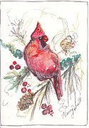 Black Berries Painting Framed Prints - My Favorite Cardinal Framed Print by Michele Hollister - for Nancy Asbell