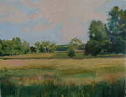 Golds Posters - My Field in Summer Poster by Sylvia Ruth Weinberg