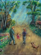 Dog Walking Drawings Prints - My First Memory Print by Dawn Senior-Trask
