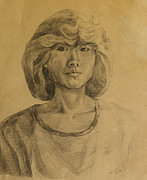 Becky Kim Drawings - my First Self Portrait in 1984 by Becky Kim