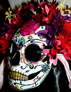 Bright Sculpture Posters - My First Sugar Skull Mask Poster by Mitza Hurst