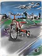 Tricycle Framed Prints - My First Wheels Framed Print by Russell Pierce