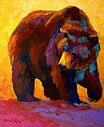 Fishing Painting Posters - My Fish - Grizzly Bear Poster by Marion Rose