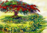 Puerto Rico Painting Metal Prints - My Flamboyant Tree Metal Print by Estela Robles