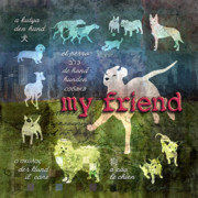Bulldog Digital Art Posters - My Friend Dogs Poster by Evie Cook