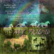 Textured Digital Art Prints - My Friend Horses Print by Evie Cook