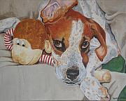 Lazy Dog Paintings - My friends dog by Laura Bolle