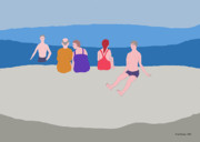 Enjoying Digital Art Posters - My Friends on the Beach Poster by Fred Jinkins