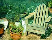 Country Scenes Pastels Metal Prints - My Garden Chair Metal Print by Jan Amiss