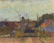Rural Life Paintings - My Garden in Spring by Joseph Delattre