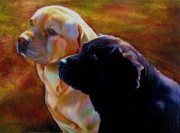 Labrador Retrievers Drawings - My Golden Shadow by Kelly McNeil