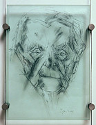 Glass Drawings - My Grandma from Scenes from Childhood series by Zoja Trofimiuk