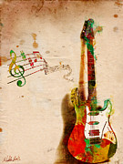 Electric Guitar Posters - My Guitar Can SING Poster by Nikki Marie Smith