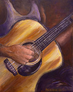Playing Painting Originals - My Guitar by Deborah Smith