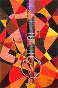 Strings Pastels Posters - My Guitar Poster by James  Mingo