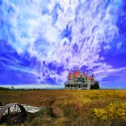 Stone House Digital Art Prints - My house on a hill Print by Jeff Burgess