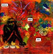 Wax Mixed Media Posters - My Humble Spirit Poster by Angela L Walker