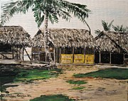 Caribbean Sea Paintings - My Hut San Blas Islands by Sharon  Gonzalez