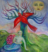 Metaphysical Painting Originals - My Inner Mermaid by Shoshanna Lightsmith