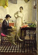 Standing Painting Framed Prints - My kitchen Framed Print by Harold Harvey