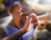 Child Digital Art Posters - My Little Butterfly Poster by Bob Salo