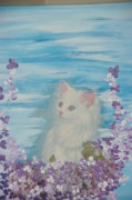 Act Painting Posters - My little cat Poster by Sima Amid Wewetzer