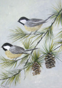 Pine Cones Painting Prints - My Little Chickadees Print by Donna Frasca