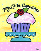 Polkadots Posters - My Little Cupcake Poster by Renee Womack