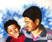 Venkat Meruvu Paintings - My Little Master Chotu by Venkat Meruvu