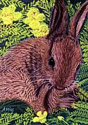 Rabbit Pastels Posters - My Little World Poster by Jan Amiss