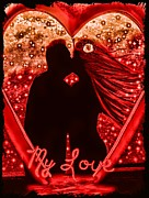 Couples Mixed Media Prints - My Love in Metallics Print by Tisha McGee