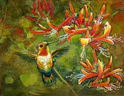 Vine Paintings - My Loving Hummingbird by Eileen  Fong