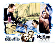 Atcmposterart Prints - My Man Godfrey, Center William Powell Print by Everett