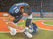 Denver Broncos Painting Prints - My Man Tebow Print by Lynette Brown