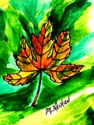India Ink Posters - My Maple Leaf Is Falling Poster by Marsha Heiken