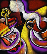Saucer Prints - My Morning Coffee Print by Leon Zernitsky