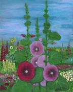 Contemporary American Folk Art Framed Prints - My Mothers Garden Hollyhocks Framed Print by Anna Folkartanna Maciejewska-Dyba