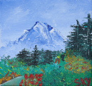 Snow-covered Landscape Painting Posters - My Mountain Wonder Poster by Jera Sky
