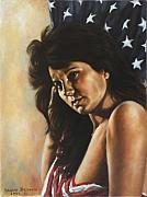 American Flag Painting Originals - My New Flag by Harvie Brown