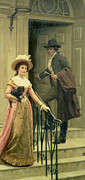 Railings Framed Prints - My Next Door Neighbor Framed Print by Edmund Blair Leighton