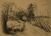 Autumn Landscape Drawings - My Own Privet Country Road by Dagmara Czarnota
