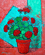 Colorful Floral Gardens Paintings - My Red Geranium by Ana Maria Edulescu