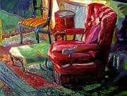 Interior Still Life Painting Metal Prints - My Red Reading Chair Metal Print by David Lloyd Glover