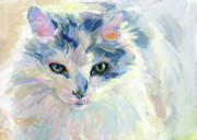 Kitty Painting Posters - My Roomie Dottie Poster by Kimberly Santini