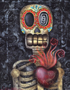 Skeleton Paintings - My Sacred Heart by  Abril Andrade Griffith